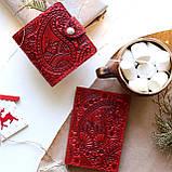 Маленький кожаный кошелек женский Подсолнух красный, Восточный узор, Цветы Солнце Петриковка Птицы Коты, фото 8