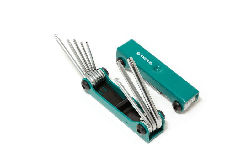 Набор ключей TORX складной, 8 предметов(T9, T10, T15, T20, T25, T27, T30, T40 с отверстием) Forsage F-5083TF