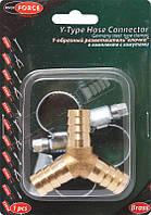 """Y-образный разветвитель""""елочка"""" 8мм + хомуты для крепежа (в блистере) ROCKFORCE RF-E102-5/2"""