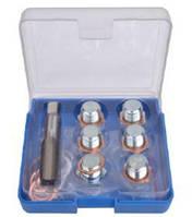 Набор для восстановления резьбы сливного отверстия поддона: M20х1,5мм (7 предметов) в футляре. ROCKFORCE