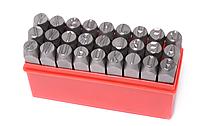 Набор штампов буквенных 10мм, 27 предметов, в пластиковом футляре ROCKFORCE RF-02710
