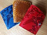 Маленький кожаный кошелек женский Ласточка синий Восточный узор Цветы Подсолнух Солнце Петриковка Птицы Коты, фото 2