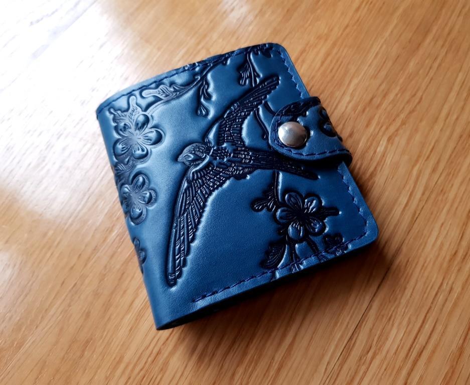 Маленький кожаный кошелек женский Ласточка синий Восточный узор Цветы Подсолнух Солнце Петриковка Птицы Коты