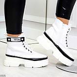 Молодежные яркие белые удобные женские ботинки с черным декором, фото 9