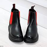 Яркие модные черные женские ботинки челси с красными вставками, фото 2