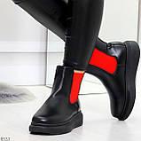 Яркие модные черные женские ботинки челси с красными вставками, фото 3