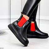 Яркие модные черные женские ботинки челси с красными вставками, фото 4