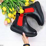 Яркие модные черные женские ботинки челси с красными вставками, фото 6