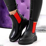 Яркие модные черные женские ботинки челси с красными вставками, фото 10