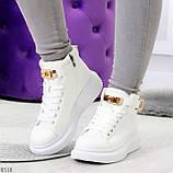 Белые женские кроссовки на флисе с ремешком на щиколотке и навесными замочками, фото 8