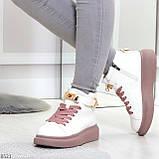 Белые розовые кроссовки на флисе с ремешком на щиколотке и навесными замочками, фото 5