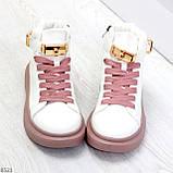 Белые розовые кроссовки на флисе с ремешком на щиколотке и навесными замочками, фото 6