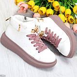 Белые розовые кроссовки на флисе с ремешком на щиколотке и навесными замочками, фото 9