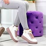 Белые розовые кроссовки на флисе с ремешком на щиколотке и навесными замочками, фото 10