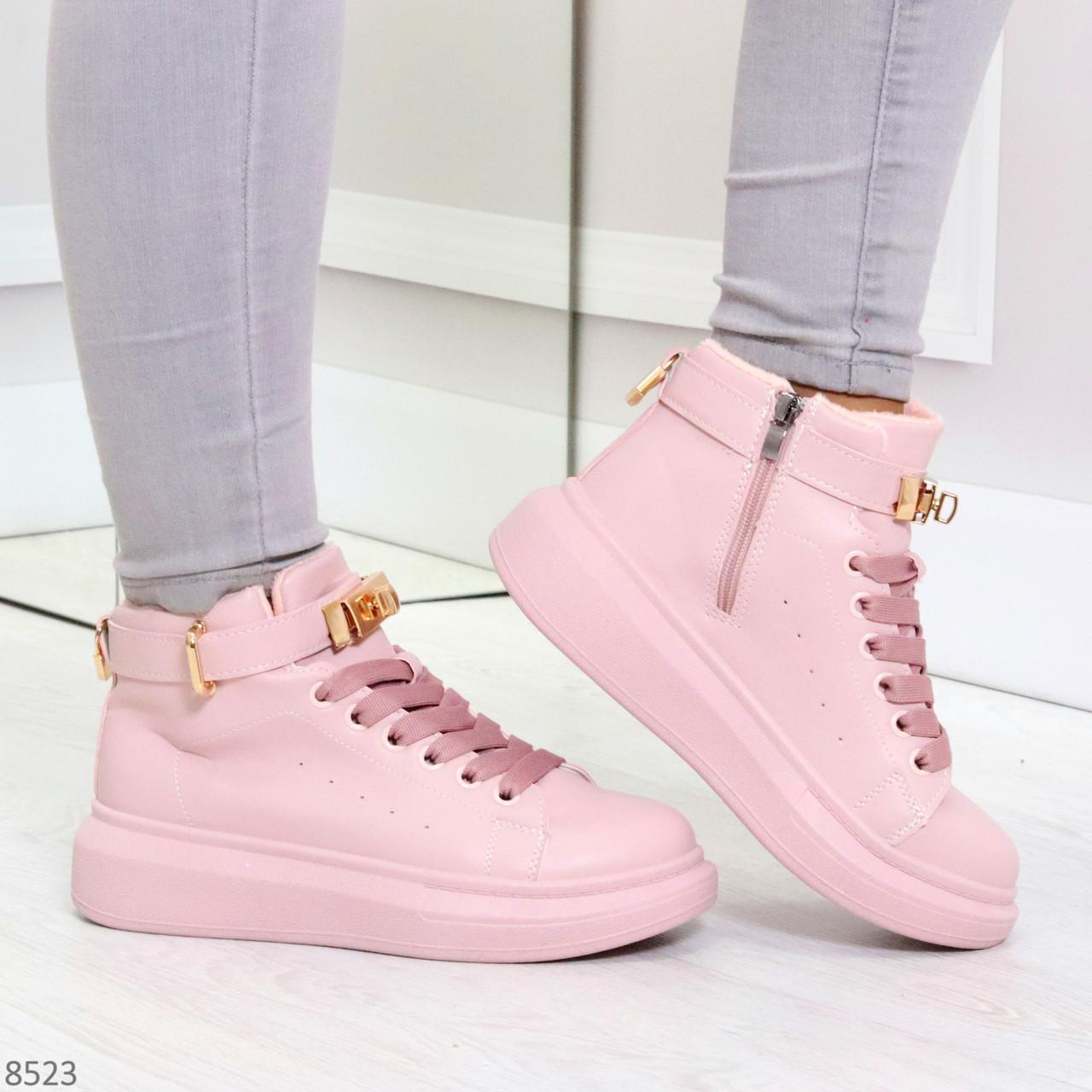 Розовые женские кроссовки на флисе с ремешком на щиколотке и навесными замочками