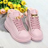 Розовые женские кроссовки на флисе с ремешком на щиколотке и навесными замочками, фото 6