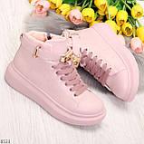 Розовые женские кроссовки на флисе с ремешком на щиколотке и навесными замочками, фото 7