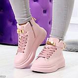 Розовые женские кроссовки на флисе с ремешком на щиколотке и навесными замочками, фото 10