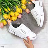 Ультра модные белые женские спортивные кеды мокасины слипоны на липучке, фото 5