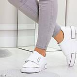 Ультра модные белые женские спортивные кеды мокасины слипоны на липучке, фото 7