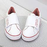 Ультра модные белые розовые спортивные кеды мокасины слипоны на липучке, фото 5