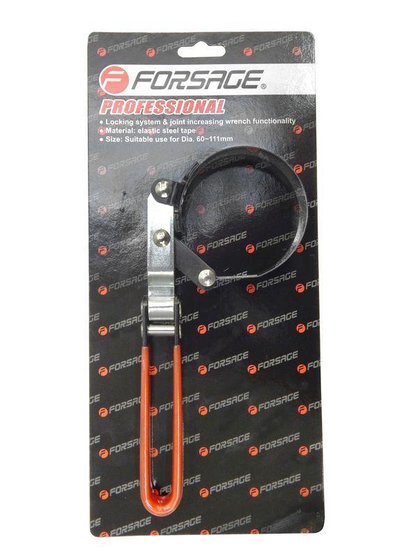 Съемник масляного фильтра 85-95мм стальная лента с поворотной ручкой Forsage F-61906095