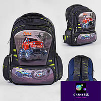 Рюкзак школьный 46307 КРАСНАЯ МАШИНА 3D принт, 1 отделение, 3 кармана, массажная спинка, в пакете