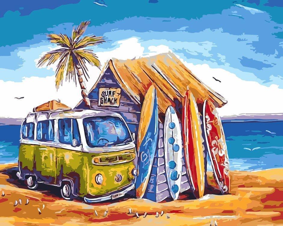 AS0203 Раскраска по номерам Гавайские каникулы, В картонной коробке