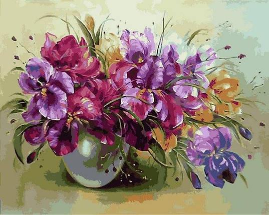 VP1327 Картина-раскраска по номерам Ваза с ирисами, фото 2
