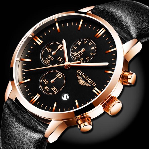 Guanquin Мужские классические кварцевые часы Guanquin Digit Black 8801