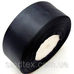 Лента репсовая 4 см. (38-40мм) черная (СИНДТЕКС-0806)