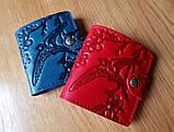 Маленький кожаный кошелек женский Собаки синий, Коты Птицы Восточный узор Цветы Подсолнух Солнце Петриковка, фото 3