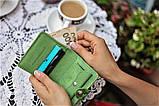 Маленький кожаный кошелек женский Собаки синий, Коты Птицы Восточный узор Цветы Подсолнух Солнце Петриковка, фото 9