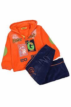 Костюм детский микровельвет на флисе мальчик оранжевый Kids 127400M