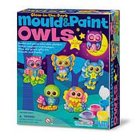 Игра Cделай сам для детей рукоделие хендмейд 4M Магниты из гипса Светящиеся совы (00-04654)