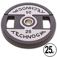 Блины 25 кг для штанги PU с хватом и металлической втулкой d-51мм TECHNOGYM TG-1837-25