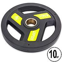 Блин 10 кг (диск) для штанги PU с хватом и металлической втулкой d-51мм Zelart TA-5344-10