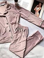 Пижама женская комплект на пуговицах V.Velika пудра (рубашка+штаны) M