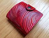 Маленький кожаный кошелек женский Медовые соты красный, Перо, Восточный узор Цветы Подсолнух Солнце Птицы Коты, фото 9