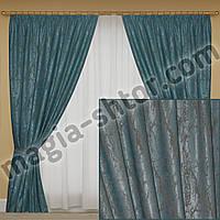 Шторы на тесьме, ткань мрамор, цвет бирюзовый