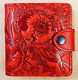 Маленький кожаный кошелек женский Медовые соты красный, Перо, Восточный узор Цветы Подсолнух Солнце Птицы Коты, фото 8