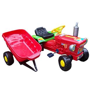 Детский педальный трактор+прицеп