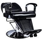 Парикмахерский стул барбершопера с эко кожи Barber King черное LEON, фото 2