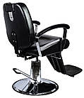 Парикмахерский стул барбершопера с эко кожи Barber King черное LEON, фото 3
