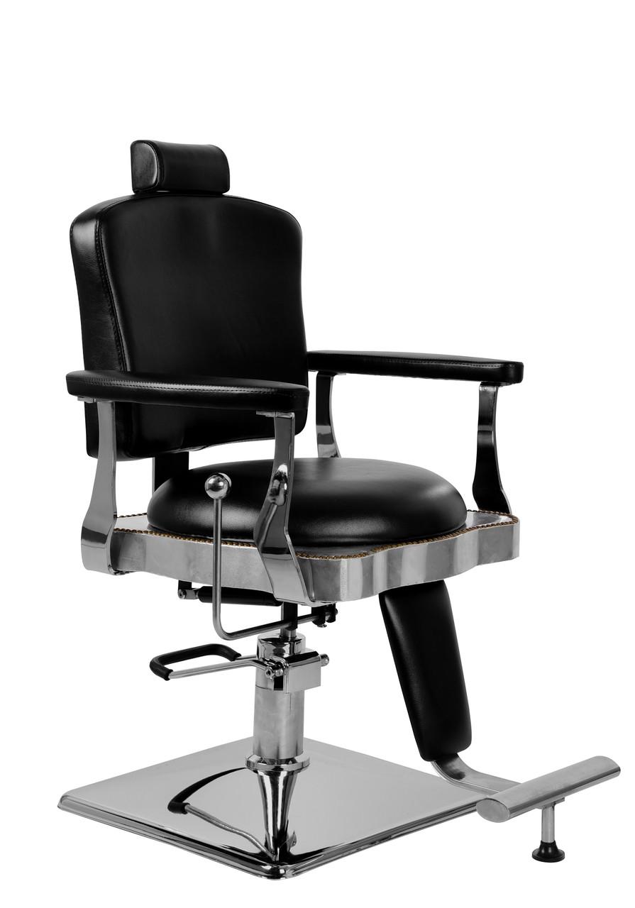 Парикмахерский стул барбершопера с эко кожи Barber King черное LOTI