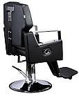 Парикмахерский стул барбершопера с эко кожи Barber King черное TOMAS PREMIUM, фото 3