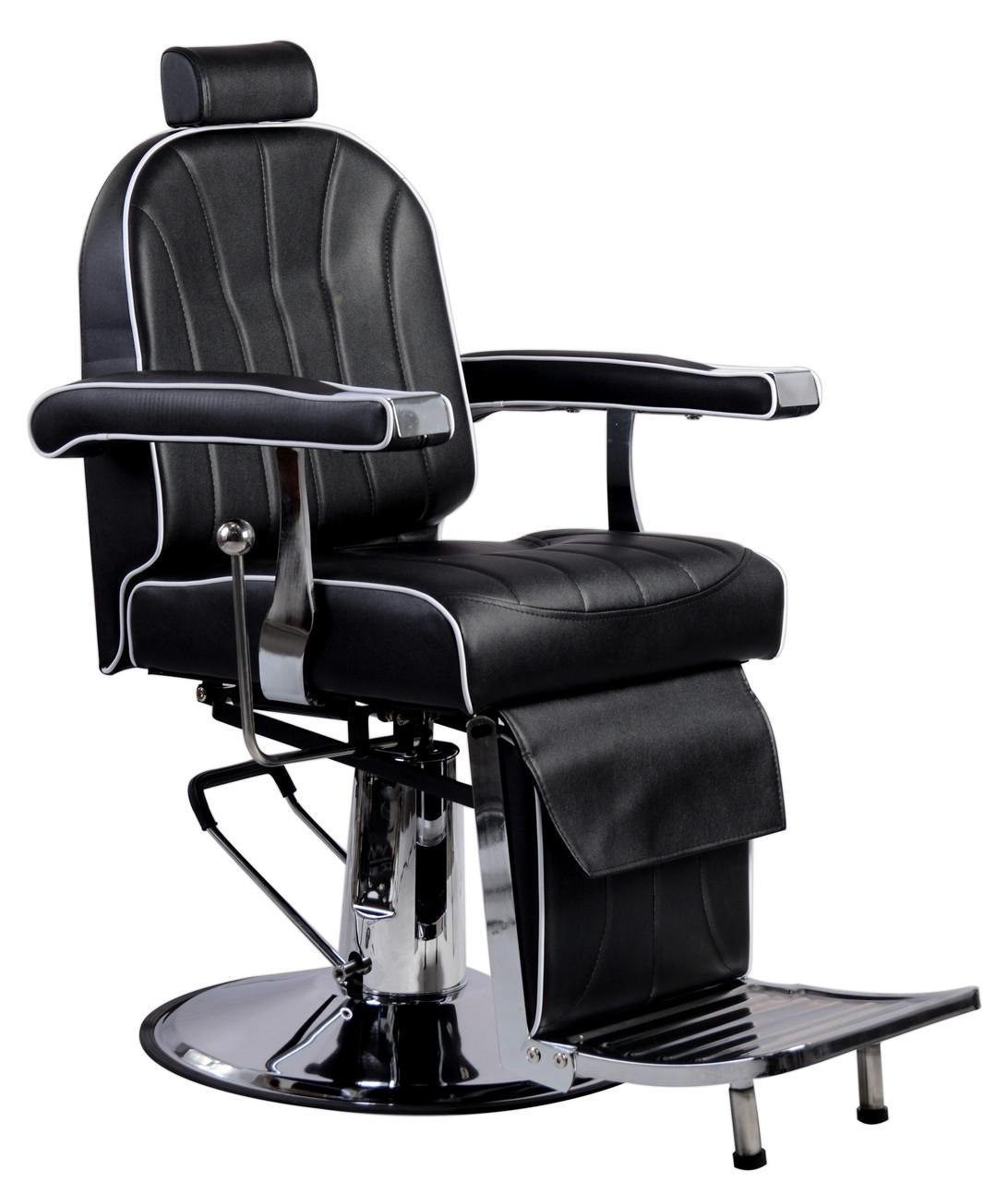 Парикмахерский стул барбершопера с эко кожи Calissimo черное PRIM