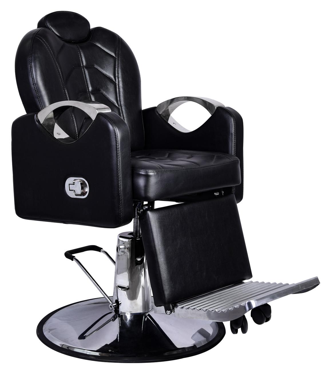 Кресло парикмахерское для барбершопера с эко кожи Barber King черное BESARION