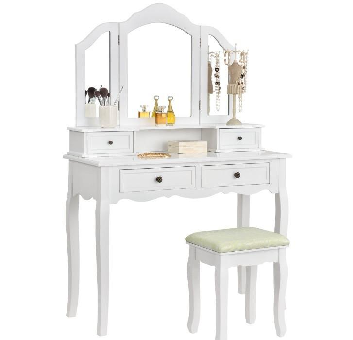 Косметический туалетный столик FIONA с зеркалом и табуретом белый