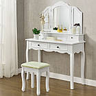 Косметический туалетный столик FIONA с зеркалом и табуретом белый, фото 5